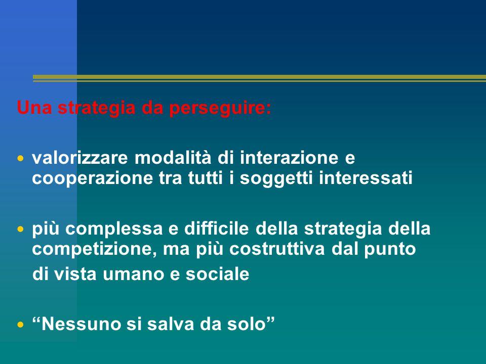 Una strategia da perseguire: valorizzare modalità di interazione e cooperazione tra tutti i soggetti interessati più complessa e difficile della strategia della competizione, ma più costruttiva dal punto di vista umano e sociale Nessuno si salva da solo