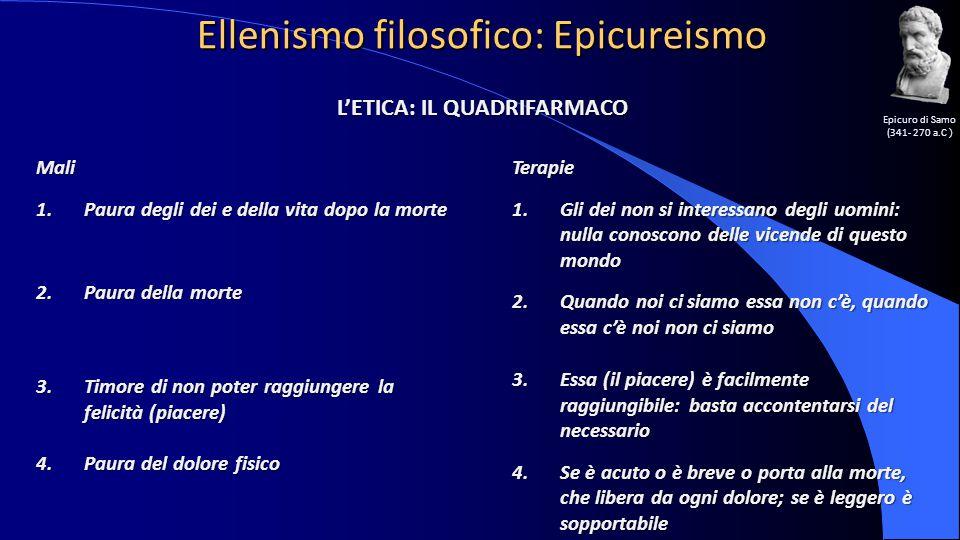 Ellenismo filosofico: Epicureismo Epicuro di Samo (341- 270 a.C ) L'ETICA: IL QUADRIFARMACO Mali 1.Paura degli dei e della vita dopo la morte 2.Paura