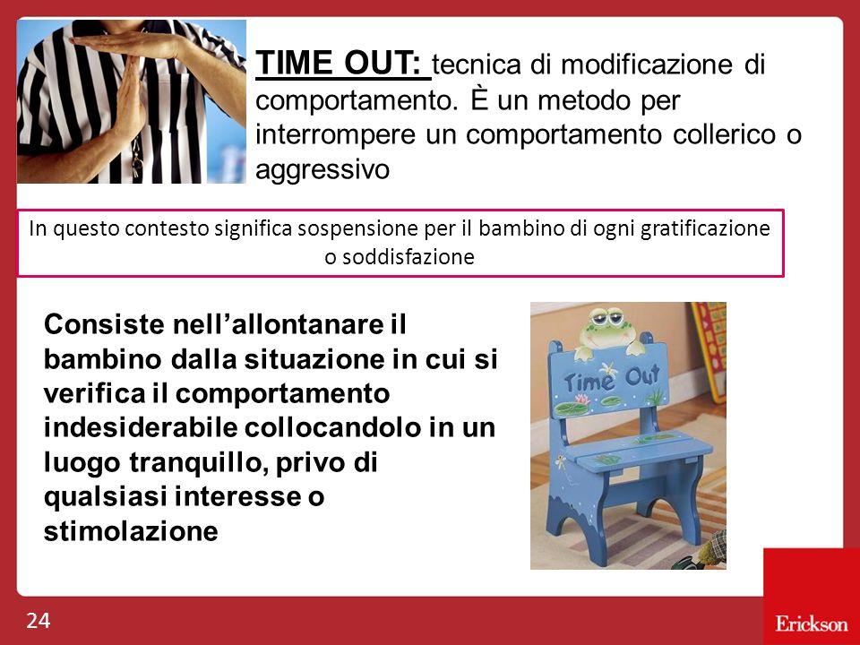 24 TIME OUT: tecnica di modificazione di comportamento. È un metodo per interrompere un comportamento collerico o aggressivo In questo contesto signif