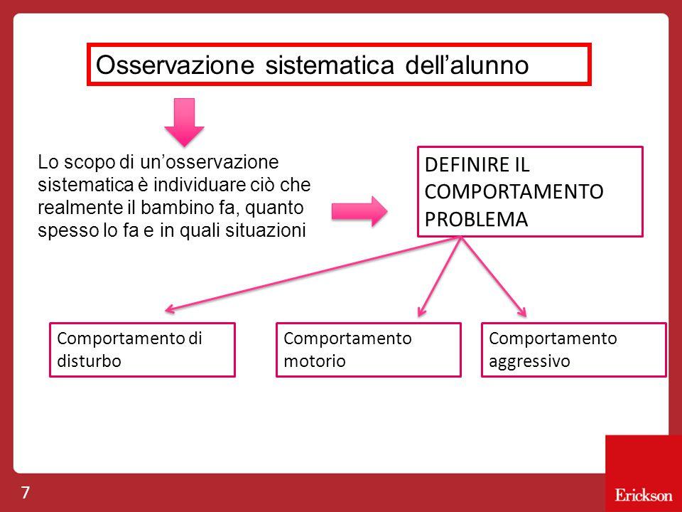 7 Osservazione sistematica dell'alunno Lo scopo di un'osservazione sistematica è individuare ciò che realmente il bambino fa, quanto spesso lo fa e in