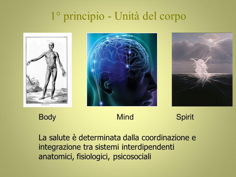 1° principio - Unità del corpo BodyMindSpirit La salute è determinata dalla coordinazione e integrazione tra sistemi interdipendenti anatomici, fisiologici, psicosociali