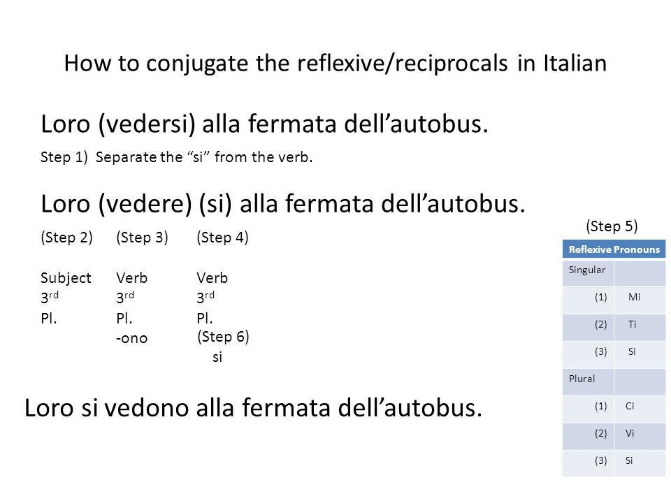 How to conjugate the reflexive/reciprocals in Italian Reflexive Pronouns Singular (1) Mi (2) Ti (3) Si Plural (1) Ci (2) Vi (3) Si Loro (vedersi) alla