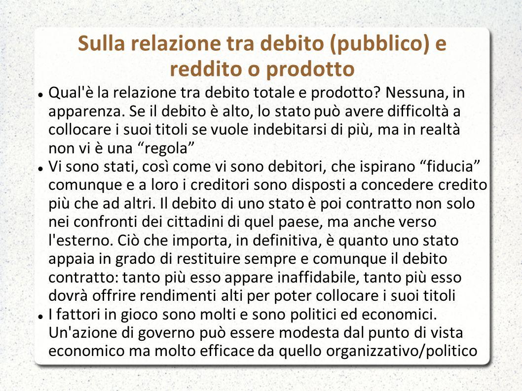Sulla relazione tra debito (pubblico) e reddito o prodotto Qual è la relazione tra debito totale e prodotto.