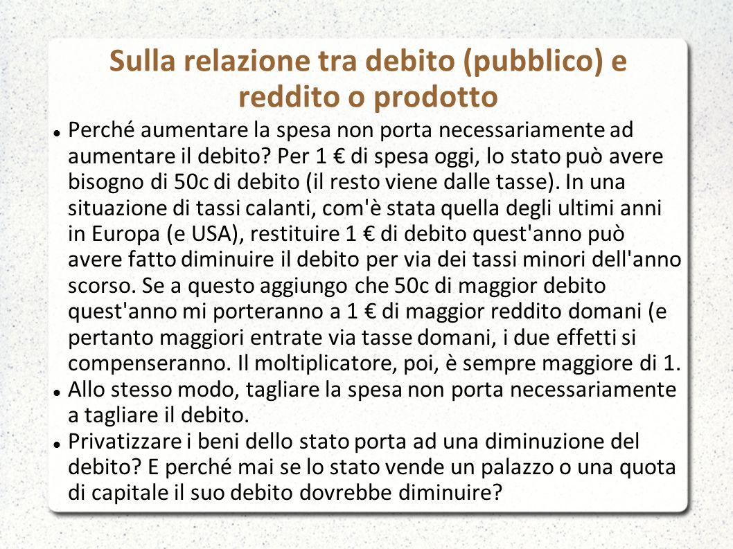 Sulla relazione tra debito (pubblico) e reddito o prodotto Perché aumentare la spesa non porta necessariamente ad aumentare il debito.