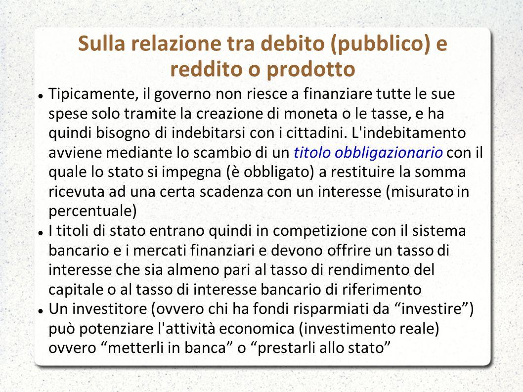 Sulla relazione tra debito (pubblico) e reddito o prodotto Tipicamente, il governo non riesce a finanziare tutte le sue spese solo tramite la creazione di moneta o le tasse, e ha quindi bisogno di indebitarsi con i cittadini.