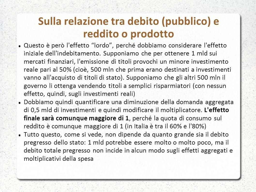 Sulla relazione tra debito (pubblico) e reddito o prodotto Questo è però l effetto lordo , perché dobbiamo considerare l effetto iniziale dell indebitamento.