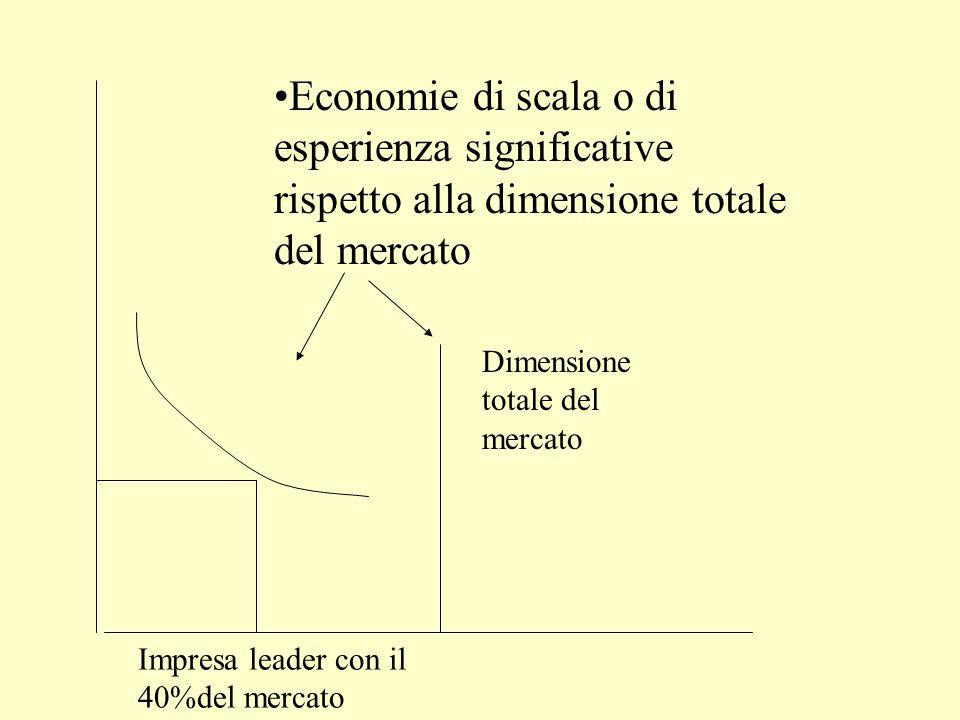 Strategia di occupazione anticipata del mercato Condizioni di successo L'espansione di capacità deve essere rilevante rispetto alla dimensione attesa del mercato.
