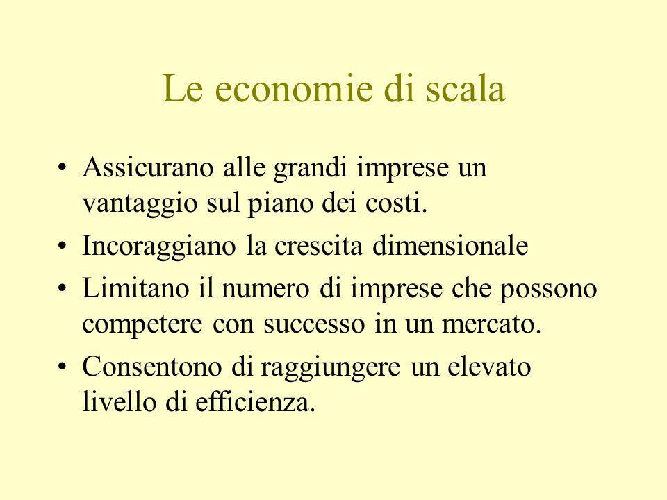 LE BASI ECONOMICHE Potere di mercato Economie dimensionali Occupazione anticipata del mercato