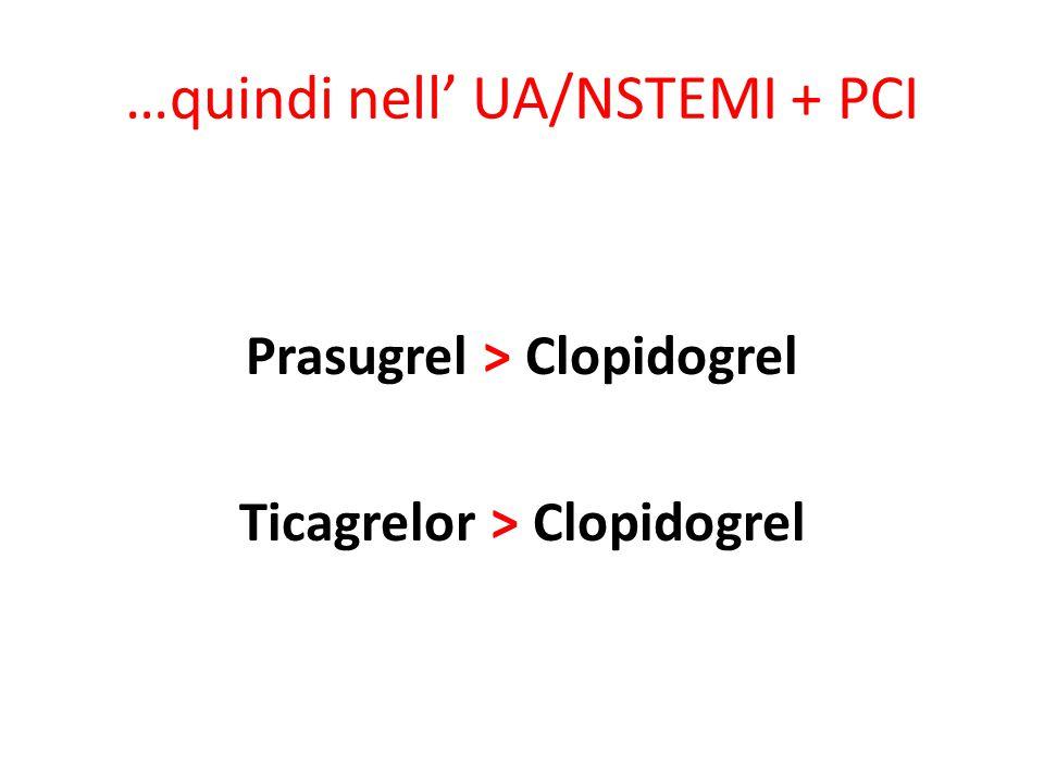 …quindi nell' UA/NSTEMI + PCI Prasugrel > Clopidogrel Ticagrelor > Clopidogrel