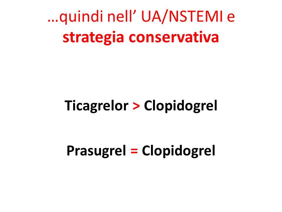 …quindi nell' UA/NSTEMI e strategia conservativa Ticagrelor > Clopidogrel Prasugrel = Clopidogrel