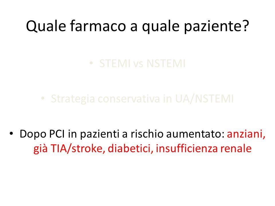 Quale farmaco a quale paziente? STEMI vs NSTEMI Strategia conservativa in UA/NSTEMI Dopo PCI in pazienti a rischio aumentato: anziani, già TIA/stroke,