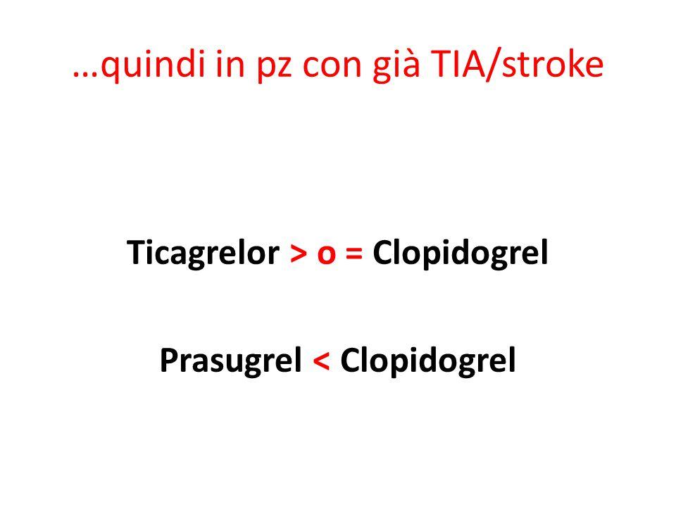 …quindi in pz con già TIA/stroke Ticagrelor > o = Clopidogrel Prasugrel < Clopidogrel