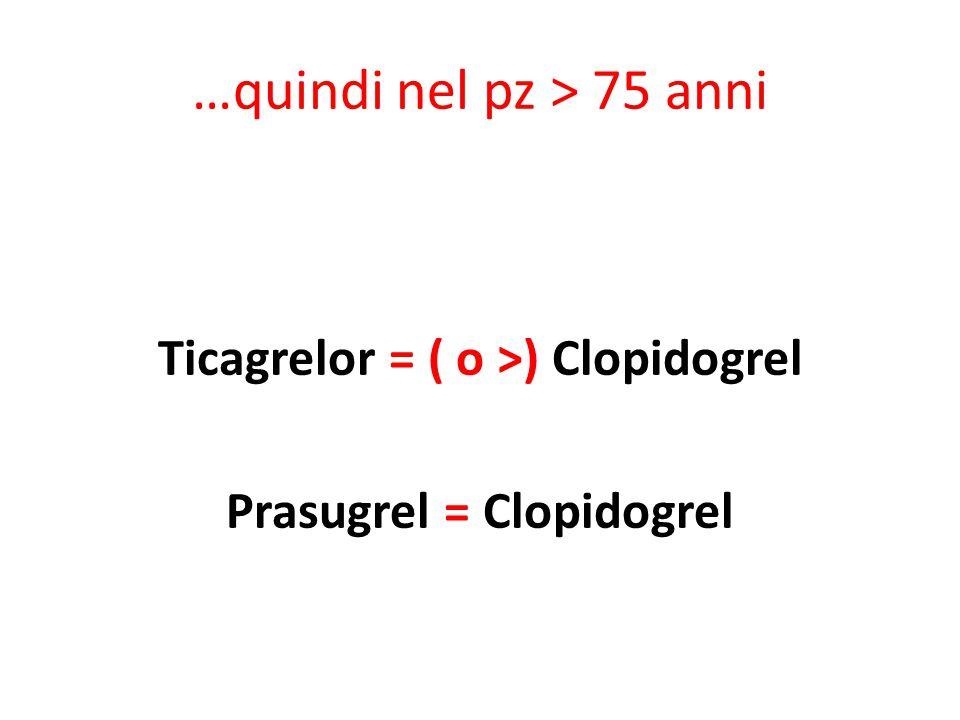 …quindi nel pz > 75 anni Ticagrelor = ( o >) Clopidogrel Prasugrel = Clopidogrel