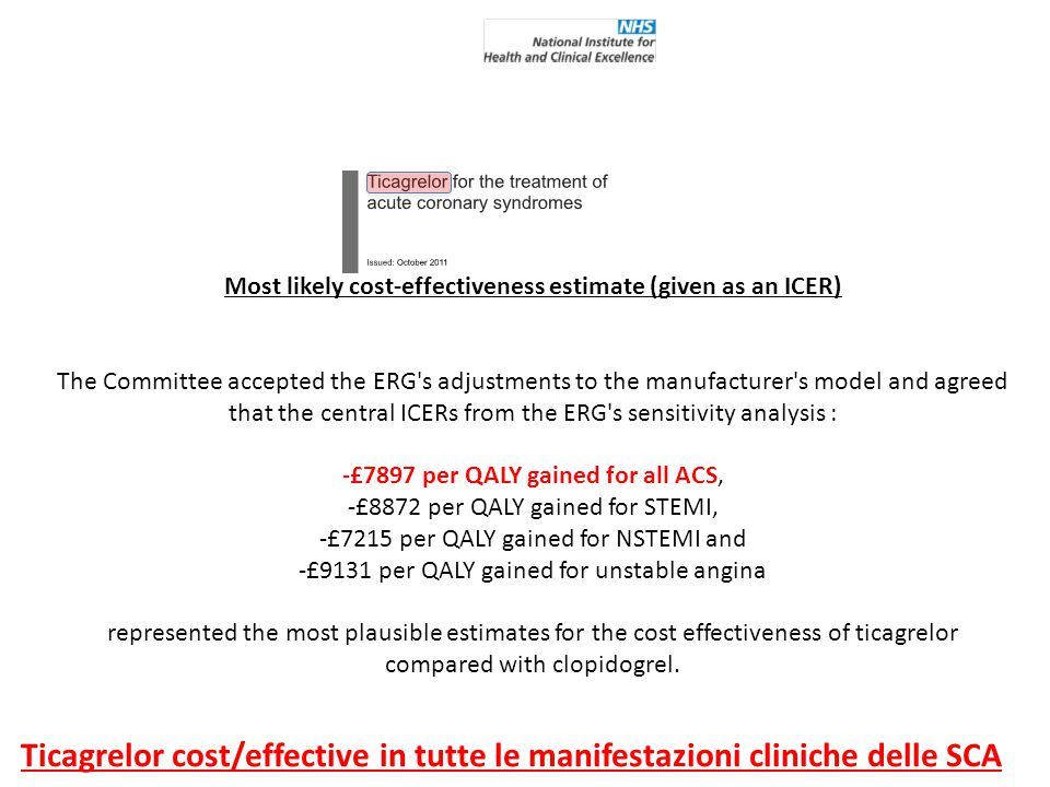Most likely cost-effectiveness estimate (given as an ICER) The Committee accepted the ERG's adjustments to the manufacturer's model and agreed that th