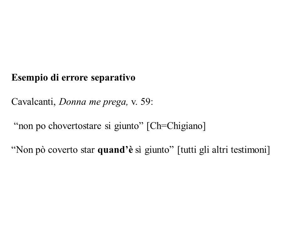 """Esempio di errore separativo Cavalcanti, Donna me prega, v. 59: """"non po chovertostare si giunto"""" [Ch=Chigiano] """"Non pò coverto star quand'è sì giunto"""""""