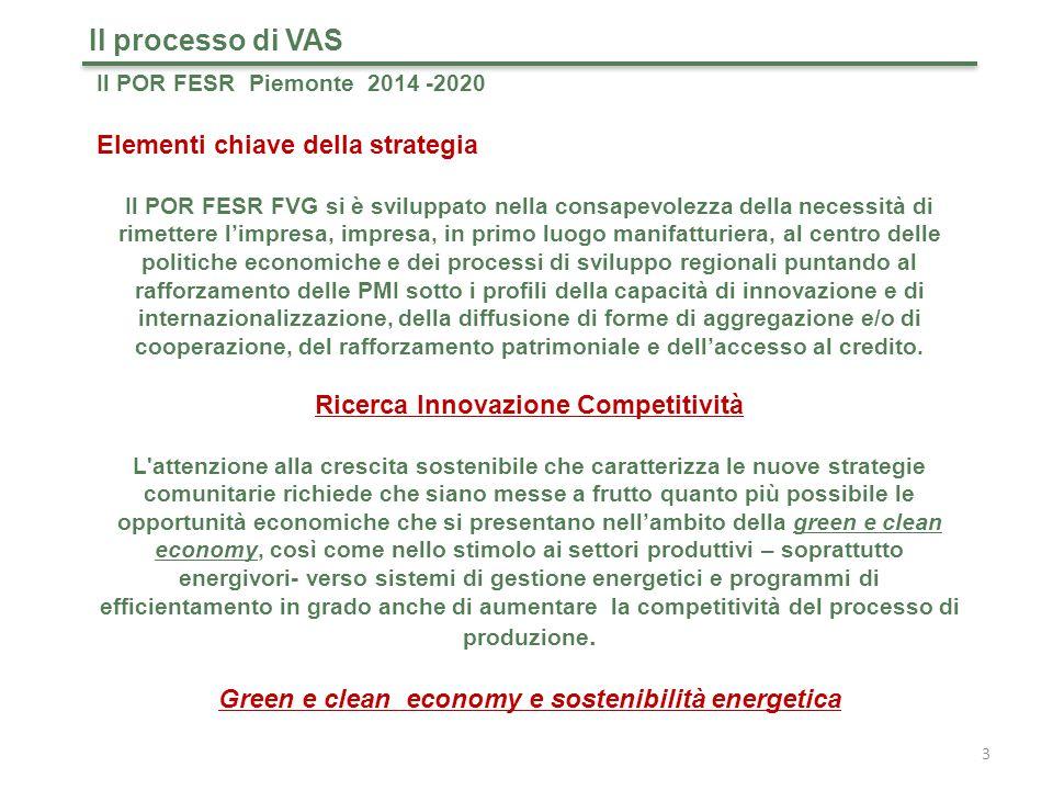 Il POR FESR Piemonte 2014 -2020 Obiettivi tematici Il processo di VAS 4 Il POR FESR Piemonte 2014-2020 assume 6 Obiettivi Tematici (degli 11 di cui all'art.9 del RRDC) a cui si aggiunge un Asse pluriobiettivo che declina la strategia regionale per lo sviluppo urbano e un Asse di Assistenza tecnica.