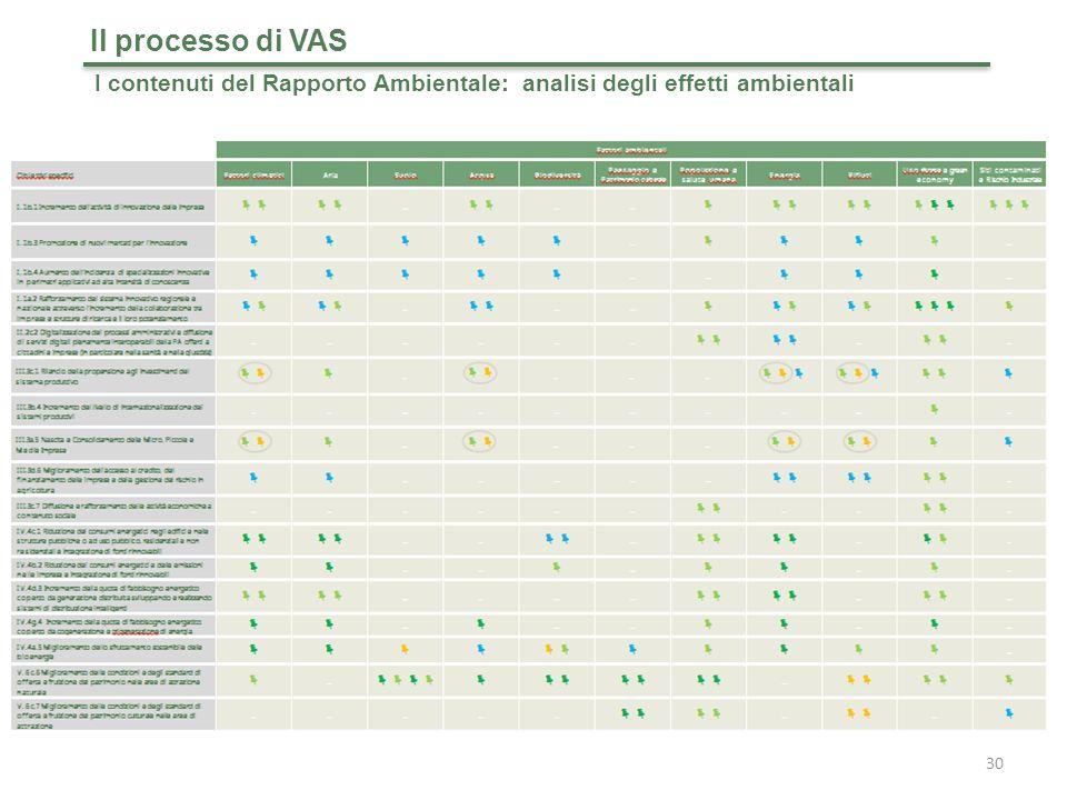 30 Il processo di VAS I contenuti del Rapporto Ambientale: analisi degli effetti ambientali