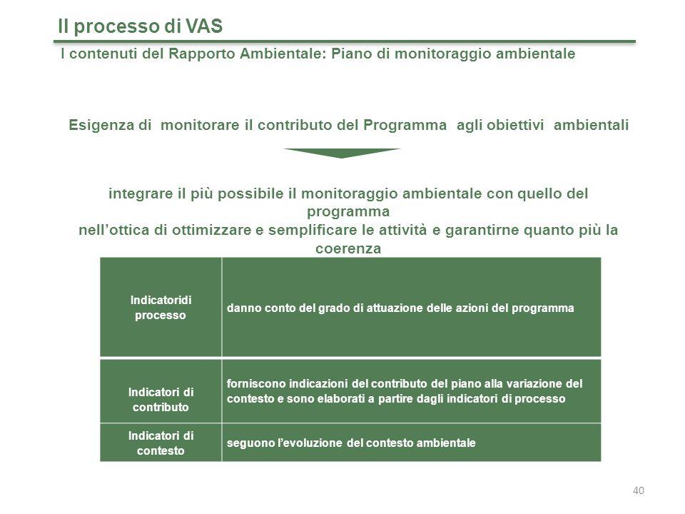 40 Il processo di VAS I contenuti del Rapporto Ambientale: Piano di monitoraggio ambientale Esigenza di monitorare il contributo del Programma agli obiettivi ambientali integrare il più possibile il monitoraggio ambientale con quello del programma nell'ottica di ottimizzare e semplificare le attività e garantirne quanto più la coerenza Indicatoridi processo danno conto del grado di attuazione delle azioni del programma Indicatori di contributo forniscono indicazioni del contributo del piano alla variazione del contesto e sono elaborati a partire dagli indicatori di processo Indicatori di contesto seguono l'evoluzione del contesto ambientale