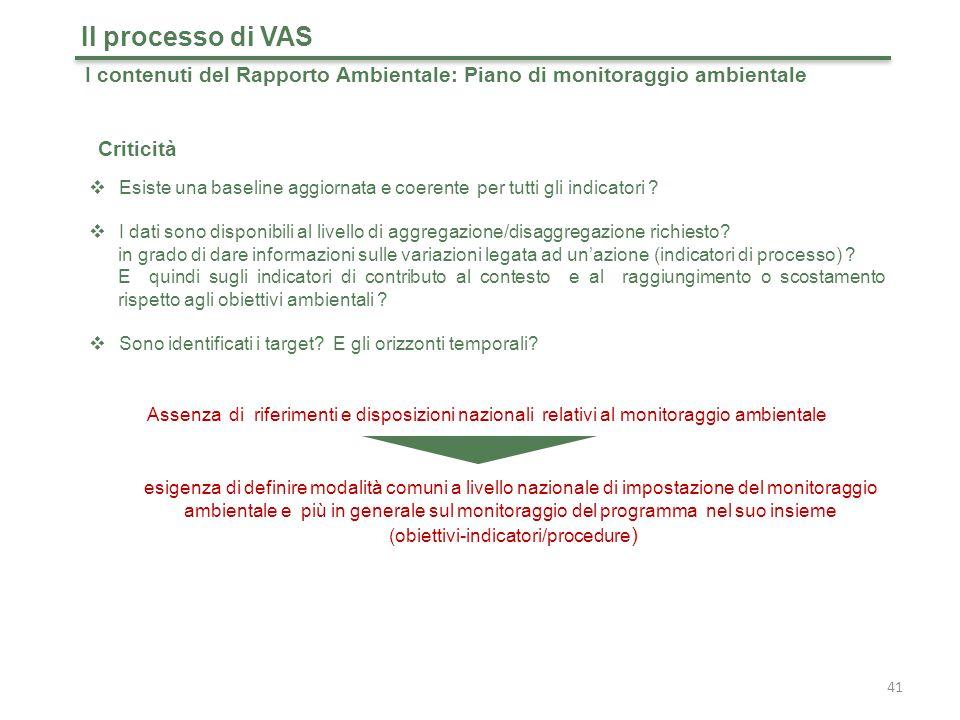 41 Il processo di VAS I contenuti del Rapporto Ambientale: Piano di monitoraggio ambientale  Esiste una baseline aggiornata e coerente per tutti gli indicatori .