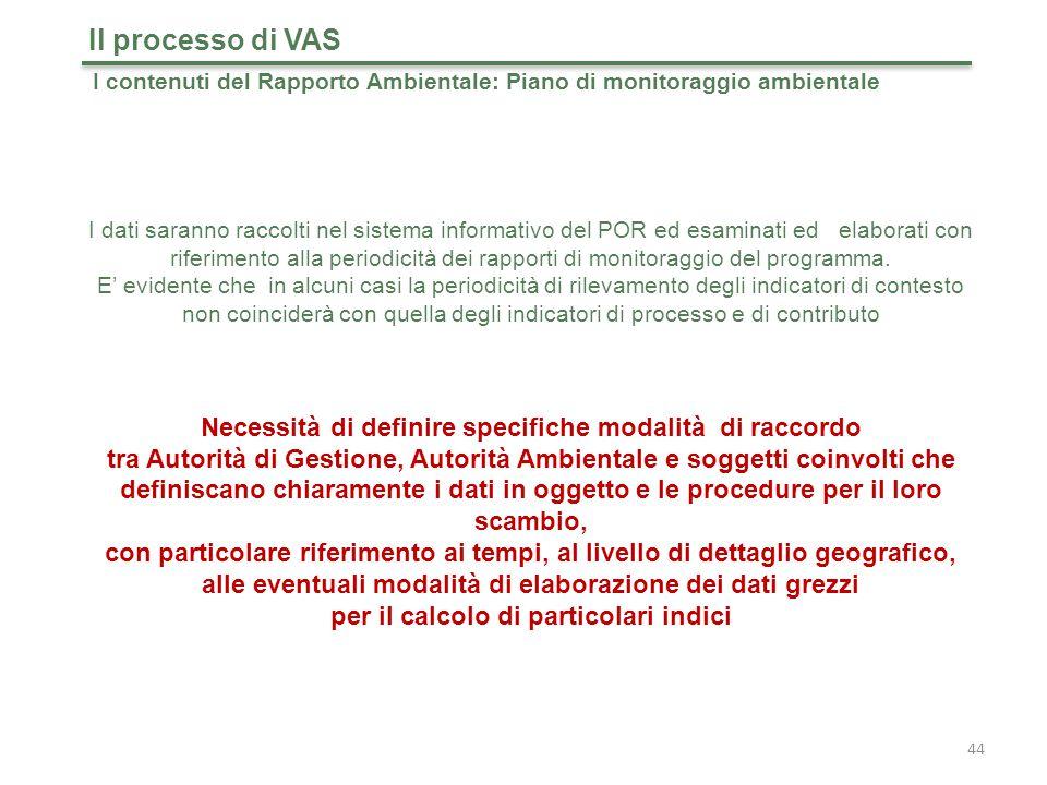 44 Il processo di VAS I dati saranno raccolti nel sistema informativo del POR ed esaminati ed elaborati con riferimento alla periodicità dei rapporti di monitoraggio del programma.