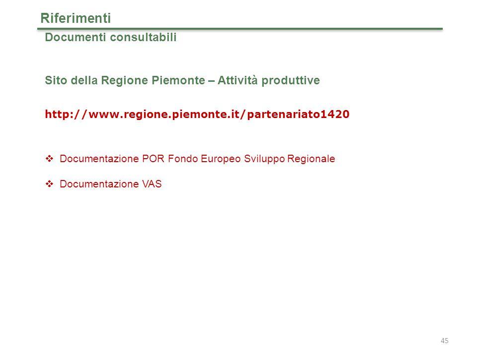 Documenti consultabili Sito della Regione Piemonte – Attività produttive http://www.regione.piemonte.it/partenariato1420  Documentazione POR Fondo Europeo Sviluppo Regionale  Documentazione VAS Riferimenti 45