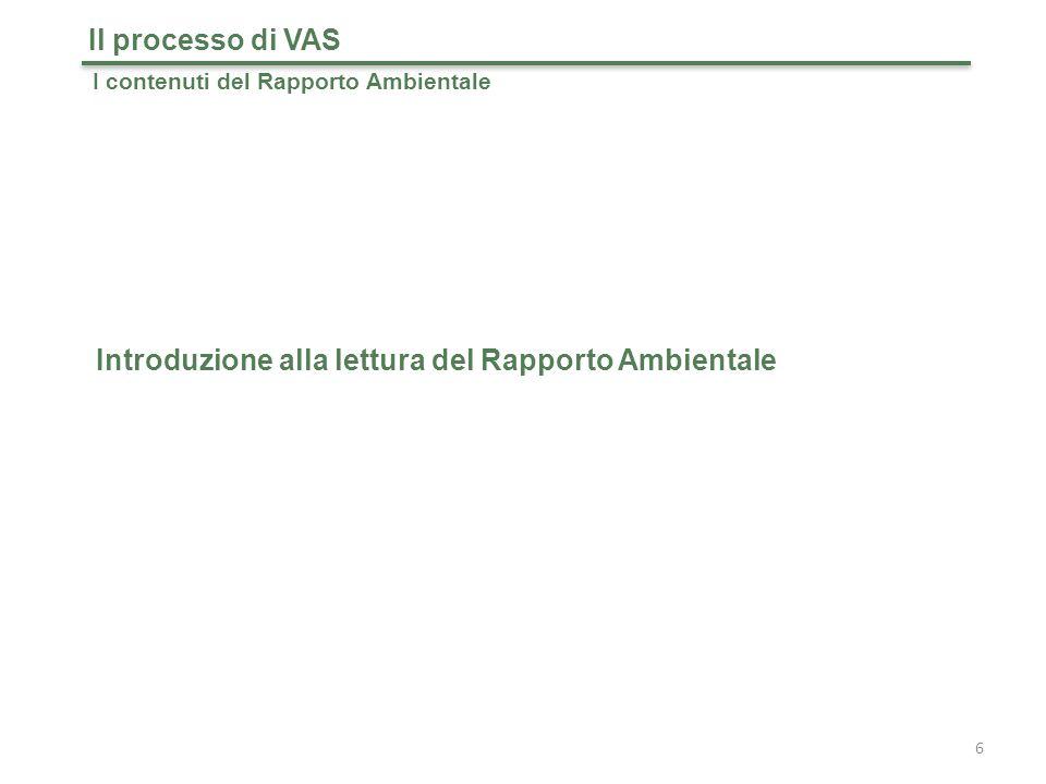 37 Il processo di VAS I contenuti del Rapporto Ambientale: integrazione della componente ambientale Obiettivi specifici, interazioni ambientali e declinazione di possibili requisiti di ammissibilità e di merito per la selezione dei progetti (esempio)