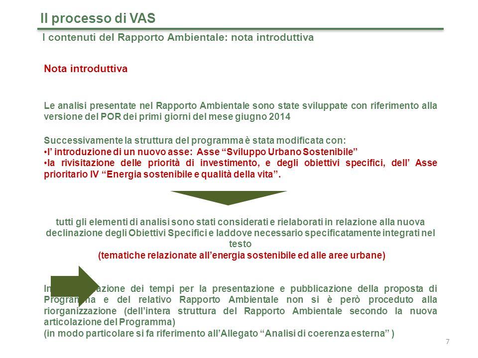 38 Il processo di VAS I contenuti del Rapporto Ambientale: integrazione della componente ambientale