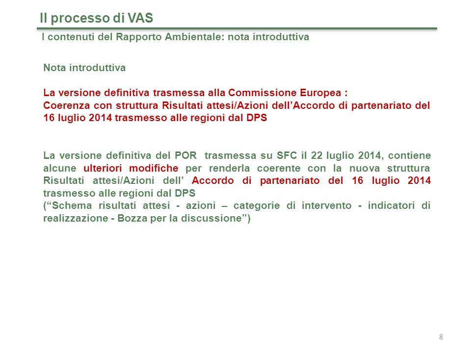 19 Il processo di VAS I contenuti del Rapporto Ambientale: sistema degli obiettivi di sostenibilità