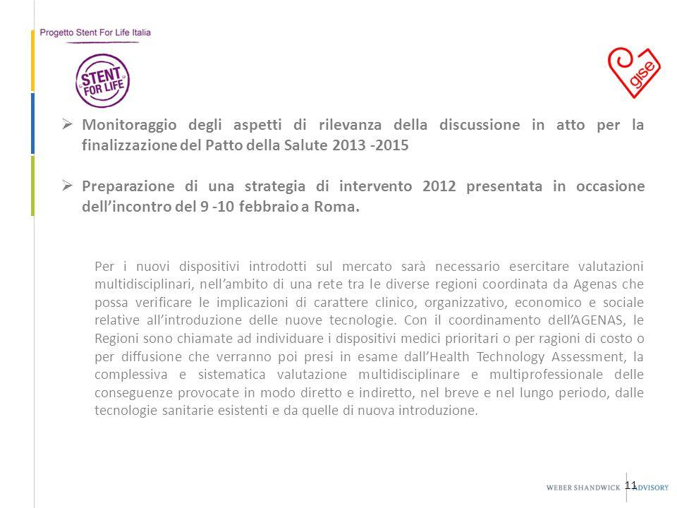 11  Monitoraggio degli aspetti di rilevanza della discussione in atto per la finalizzazione del Patto della Salute 2013 -2015  Preparazione di una strategia di intervento 2012 presentata in occasione dell'incontro del 9 -10 febbraio a Roma.