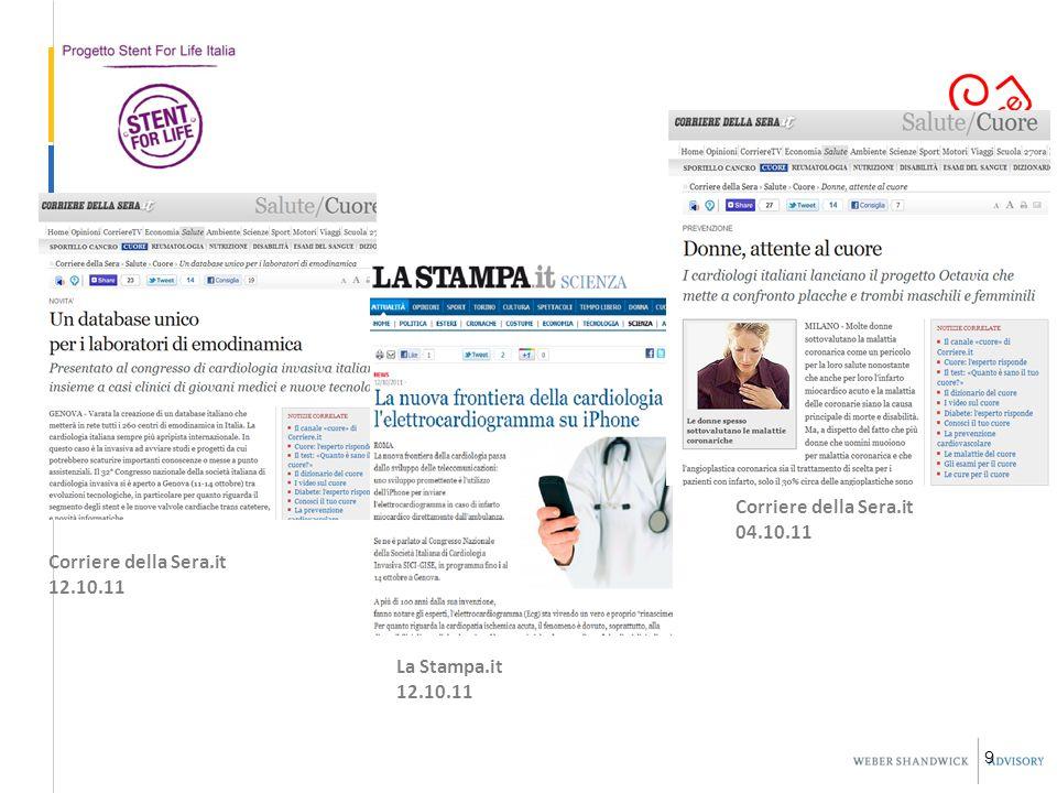 9 La Stampa.it 12.10.11 Corriere della Sera.it 04.10.11 Corriere della Sera.it 12.10.11
