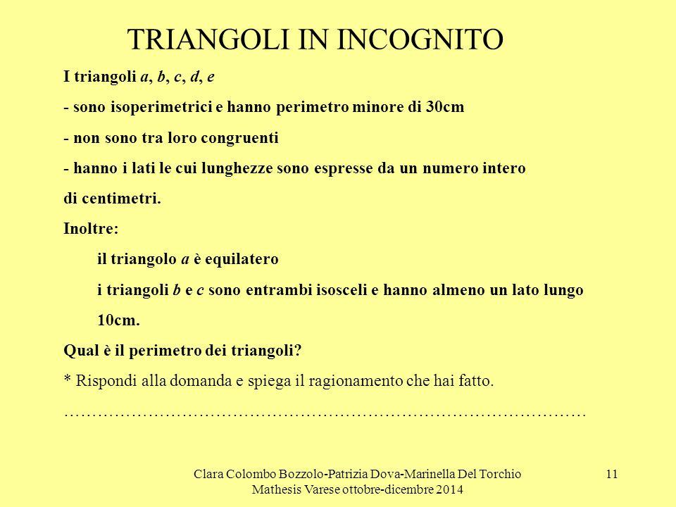 Clara Colombo Bozzolo-Patrizia Dova-Marinella Del Torchio Mathesis Varese ottobre-dicembre 2014 11 TRIANGOLI IN INCOGNITO I triangoli a, b, c, d, e -