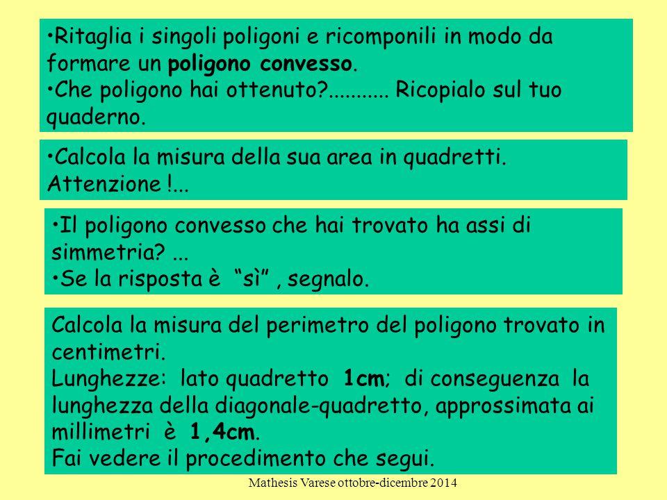 Clara Colombo Bozzolo-Patrizia Dova-Marinella Del Torchio Mathesis Varese ottobre-dicembre 2014 28 Ritaglia i singoli poligoni e ricomponili in modo d