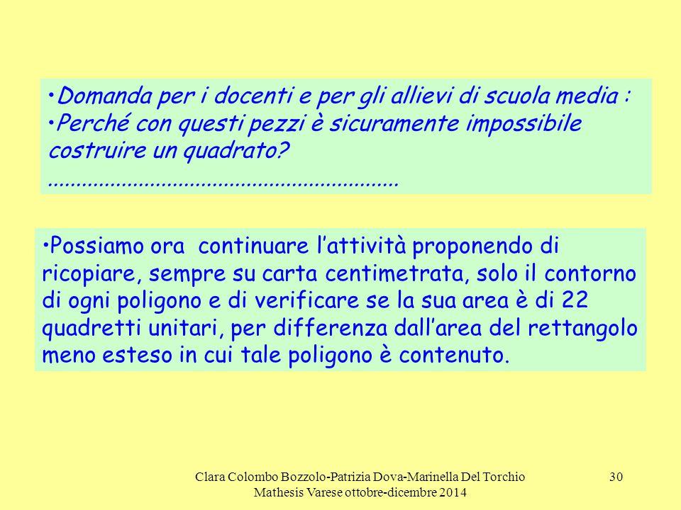 Clara Colombo Bozzolo-Patrizia Dova-Marinella Del Torchio Mathesis Varese ottobre-dicembre 2014 30 Domanda per i docenti e per gli allievi di scuola m