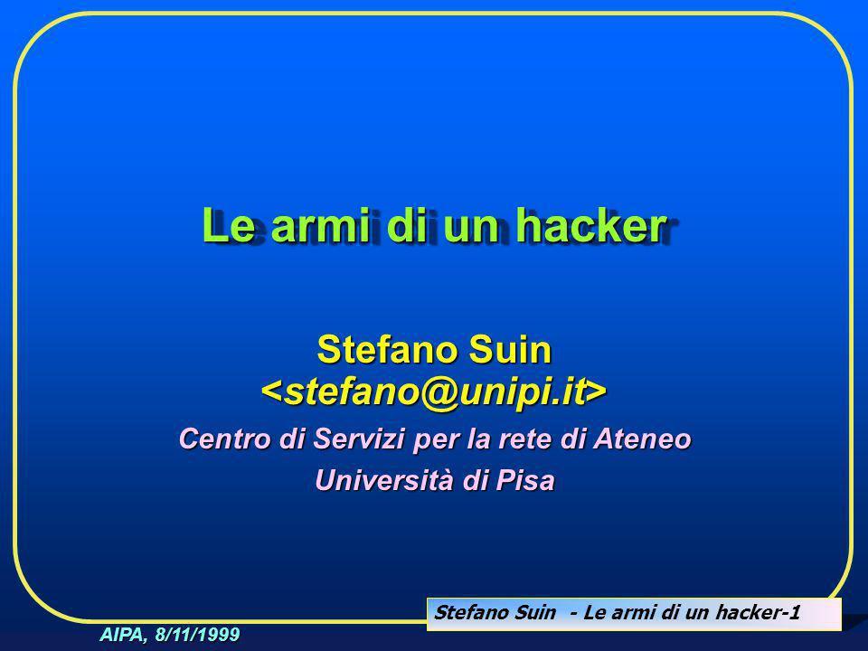 Stefano Suin - Le armi di un hacker-1 AIPA, 8/11/1999 Le armi di un hacker Stefano Suin Stefano Suin Centro di Servizi per la rete di Ateneo Universit