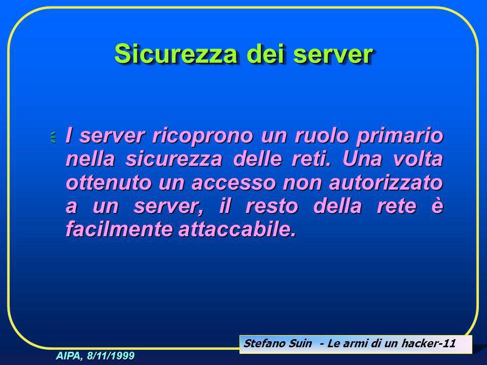 Stefano Suin - Le armi di un hacker-11 AIPA, 8/11/1999 Sicurezza dei server  I server ricoprono un ruolo primario nella sicurezza delle reti. Una vol