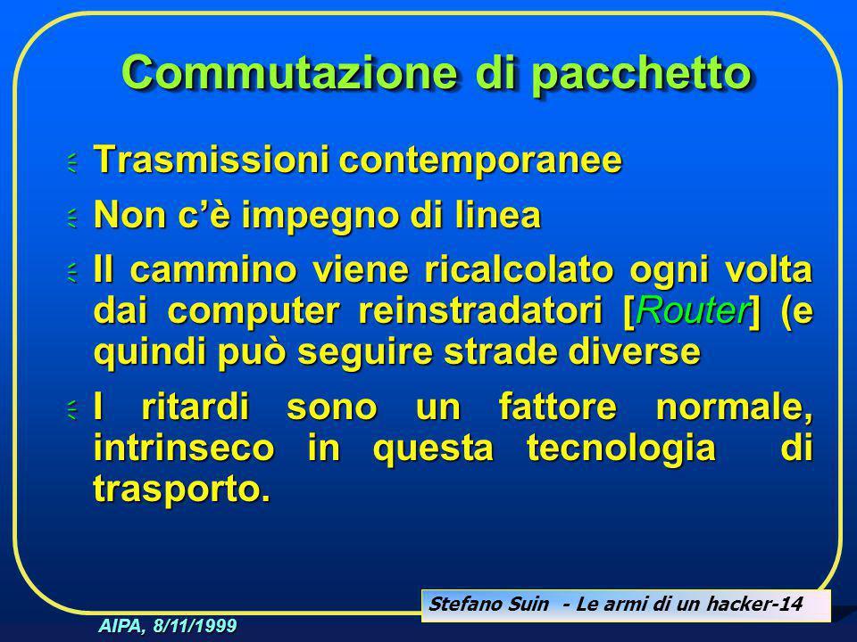 Stefano Suin - Le armi di un hacker-14 AIPA, 8/11/1999 Commutazione di pacchetto  Trasmissioni contemporanee  Non c'è impegno di linea  Il cammino