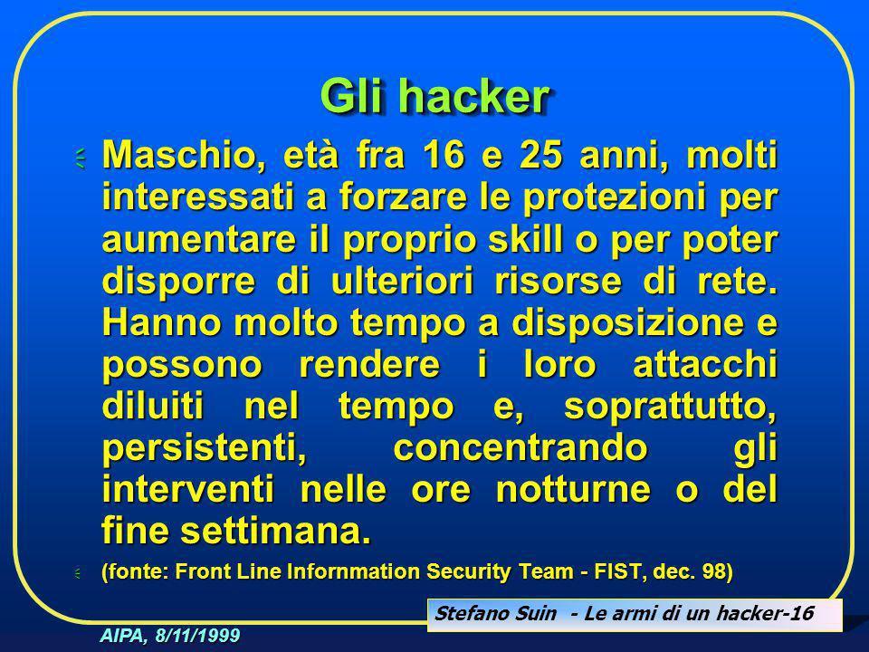 Stefano Suin - Le armi di un hacker-16 AIPA, 8/11/1999 Gli hacker  Maschio, età fra 16 e 25 anni, molti interessati a forzare le protezioni per aumen