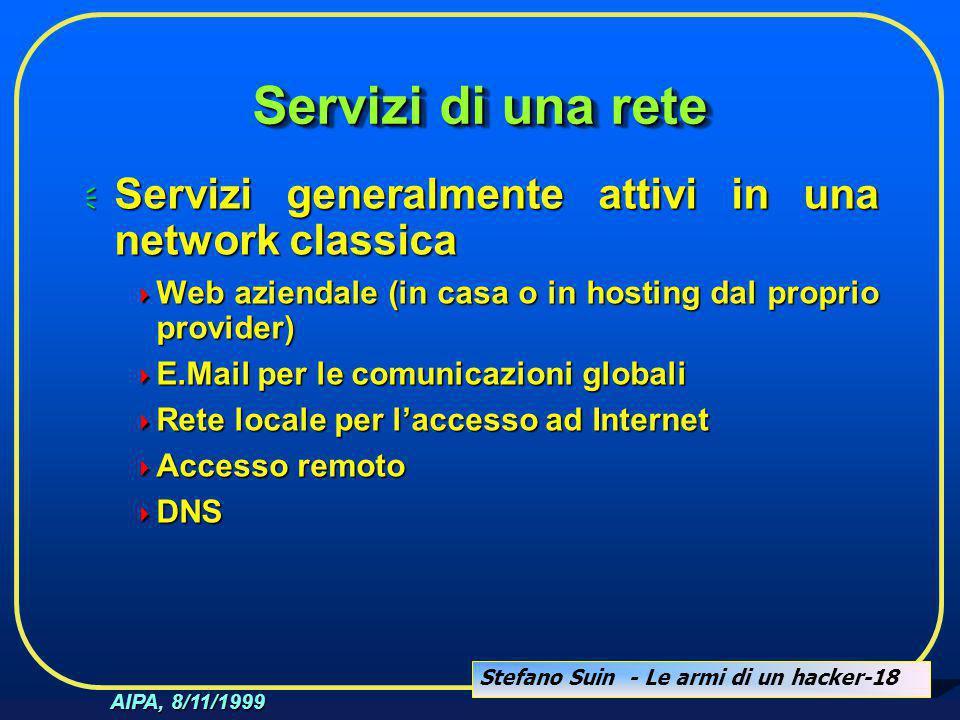 Stefano Suin - Le armi di un hacker-18 AIPA, 8/11/1999 Servizi di una rete  Servizi generalmente attivi in una network classica  Web aziendale (in c