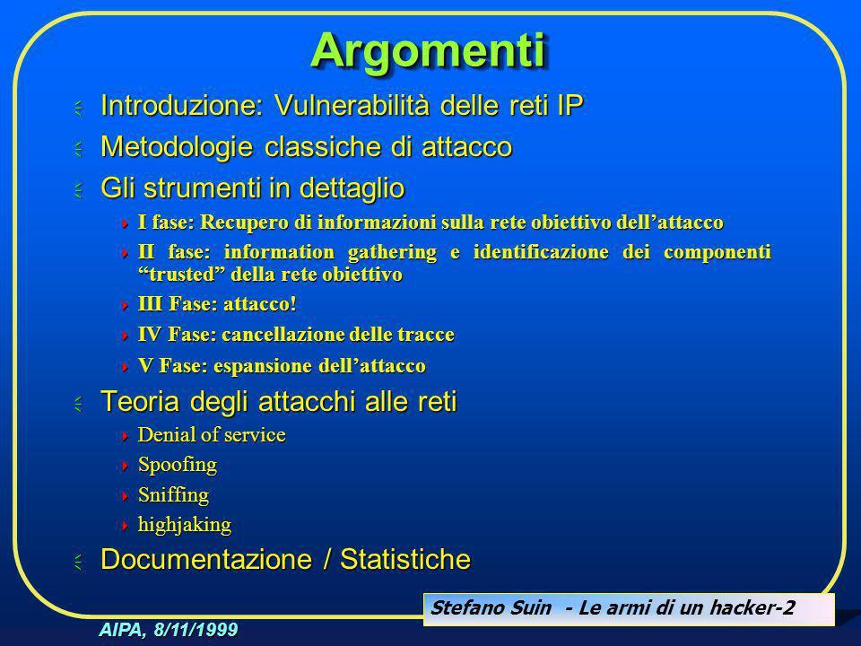 Stefano Suin - Le armi di un hacker-2 AIPA, 8/11/1999 ArgomentiArgomenti  Introduzione: Vulnerabilità delle reti IP  Metodologie classiche di attacc