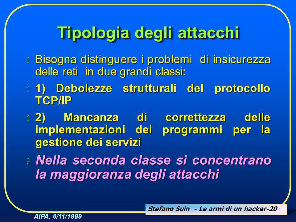 Stefano Suin - Le armi di un hacker-20 AIPA, 8/11/1999 Tipologia degli attacchi  Bisogna distinguere i problemi di insicurezza delle reti in due gran