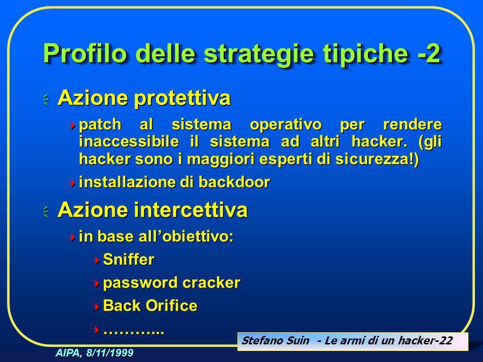 Stefano Suin - Le armi di un hacker-22 AIPA, 8/11/1999 Profilo delle strategie tipiche -2  Azione protettiva  patch al sistema operativo per rendere