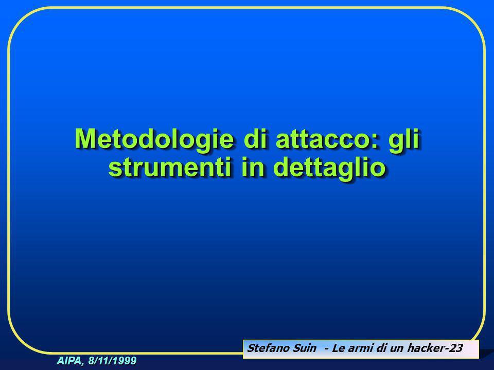 Stefano Suin - Le armi di un hacker-23 AIPA, 8/11/1999 Metodologie di attacco: gli strumenti in dettaglio