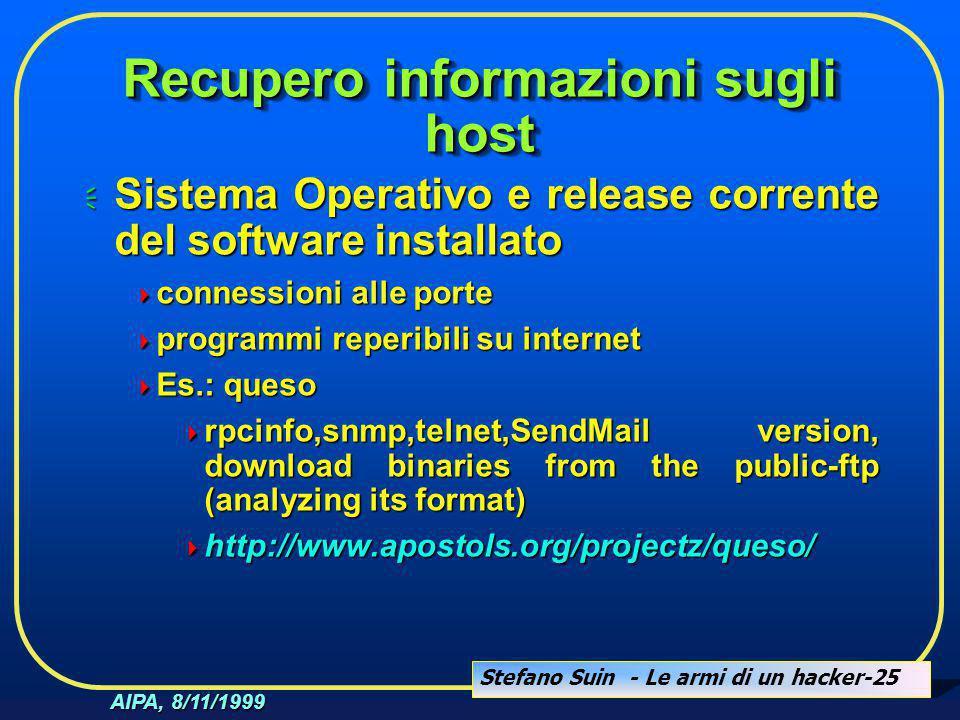 Stefano Suin - Le armi di un hacker-25 AIPA, 8/11/1999 Recupero informazioni sugli host  Sistema Operativo e release corrente del software installato