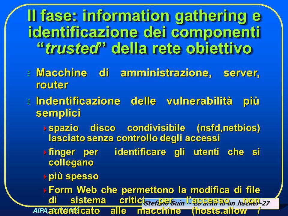 """Stefano Suin - Le armi di un hacker-27 AIPA, 8/11/1999 II fase: information gathering e identificazione dei componenti """"trusted"""" della rete obiettivo"""