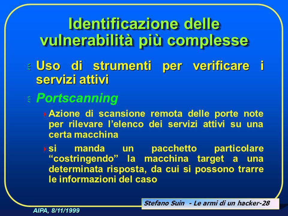 Stefano Suin - Le armi di un hacker-28 AIPA, 8/11/1999 Identificazione delle vulnerabilità più complesse  Uso di strumenti per verificare i servizi a