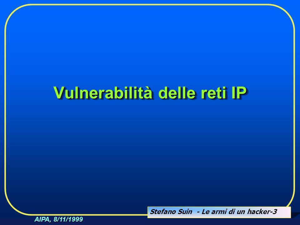 Stefano Suin - Le armi di un hacker-3 AIPA, 8/11/1999 Vulnerabilità delle reti IP