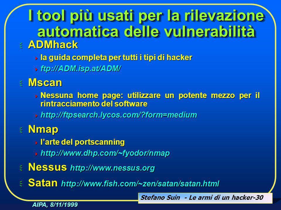 Stefano Suin - Le armi di un hacker-30 AIPA, 8/11/1999 I tool più usati per la rilevazione automatica delle vulnerabilità  ADMhack  la guida complet