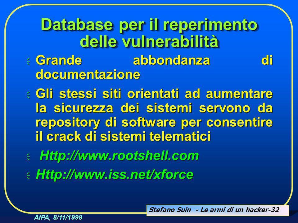 Stefano Suin - Le armi di un hacker-32 AIPA, 8/11/1999 Database per il reperimento delle vulnerabilità  Grande abbondanza di documentazione  Gli ste