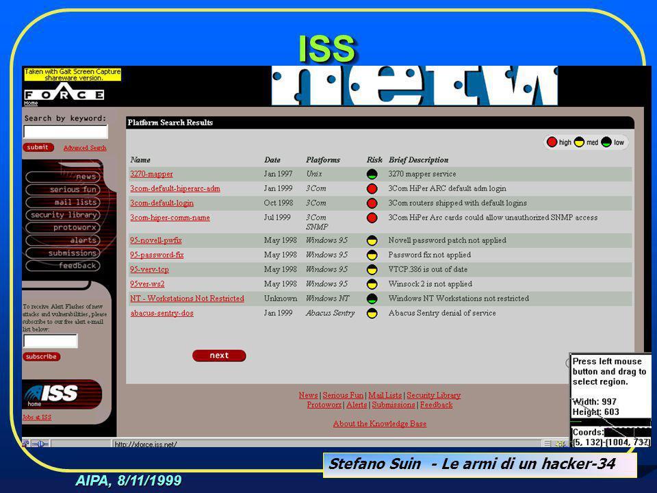 Stefano Suin - Le armi di un hacker-34 AIPA, 8/11/1999 ISSISS
