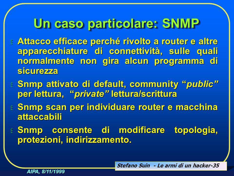 Stefano Suin - Le armi di un hacker-35 AIPA, 8/11/1999 Un caso particolare: SNMP  Attacco efficace perché rivolto a router e altre apparecchiature di